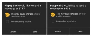 Figure 2 - Sample premium-rate text messages sent by trojanized Flappy Bird