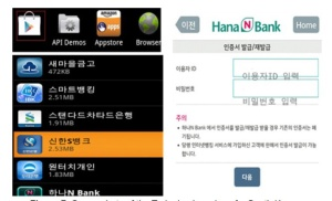 Figure 3 - Screenshots of the trojanized version of a South Korean banking app